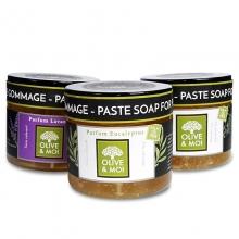 Savon d´hammam - tři olivové pasty - čistá, s eukalyptem a levandulemi